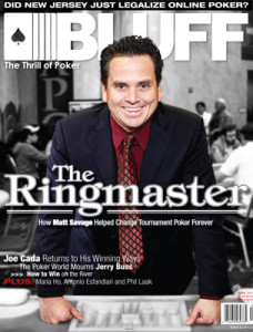 Matt Savage on cover of Bluff Magazine